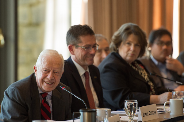 President Carter and Assistant Secretary-General Šimonović preside over the February 2015 Human Rights and Election Standards conference.